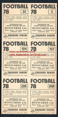 1978 Panini promo sheet of 6 foils shinies Football 78 Arsenal Derby Villa Man Utd City Everton